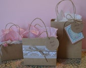 Set of 3 Shabby Chic small gift bag one of a kind, Elegant party bag, Lace, Rose, twine