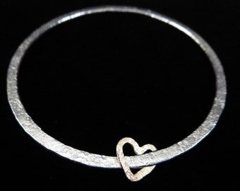 MADE TO ORDER Sterling Silver and 9ct gold heart bangle with unique hammered texture