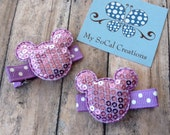 Mickey/Minnie Mouse Inspired Hair Clip Set/No Slip hair Clips/Sequin Mouse Ears/Purple/Lavender