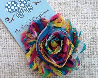 Beautiful Rainbow Shabby Chic Flower Hair Clip-No Slip Hair Clip-Infant-Toddler-Girl