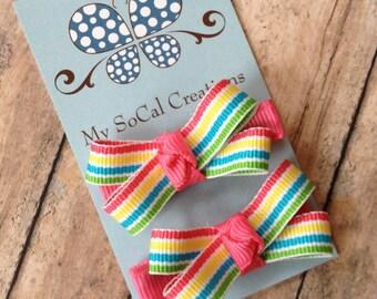 Mini Bow Hair Clip Set-Spring Rainbow-Spring Stripes-Infant-Toddler-Girl-No Slip-Pigtails