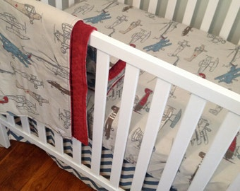 Airplane Crib Bedding. Bumperless Baby Bedding. Retro Airplane Sheet. Airplane Baby Blanket. Chevron Crib Skirt. Fitted Crib Sheet.