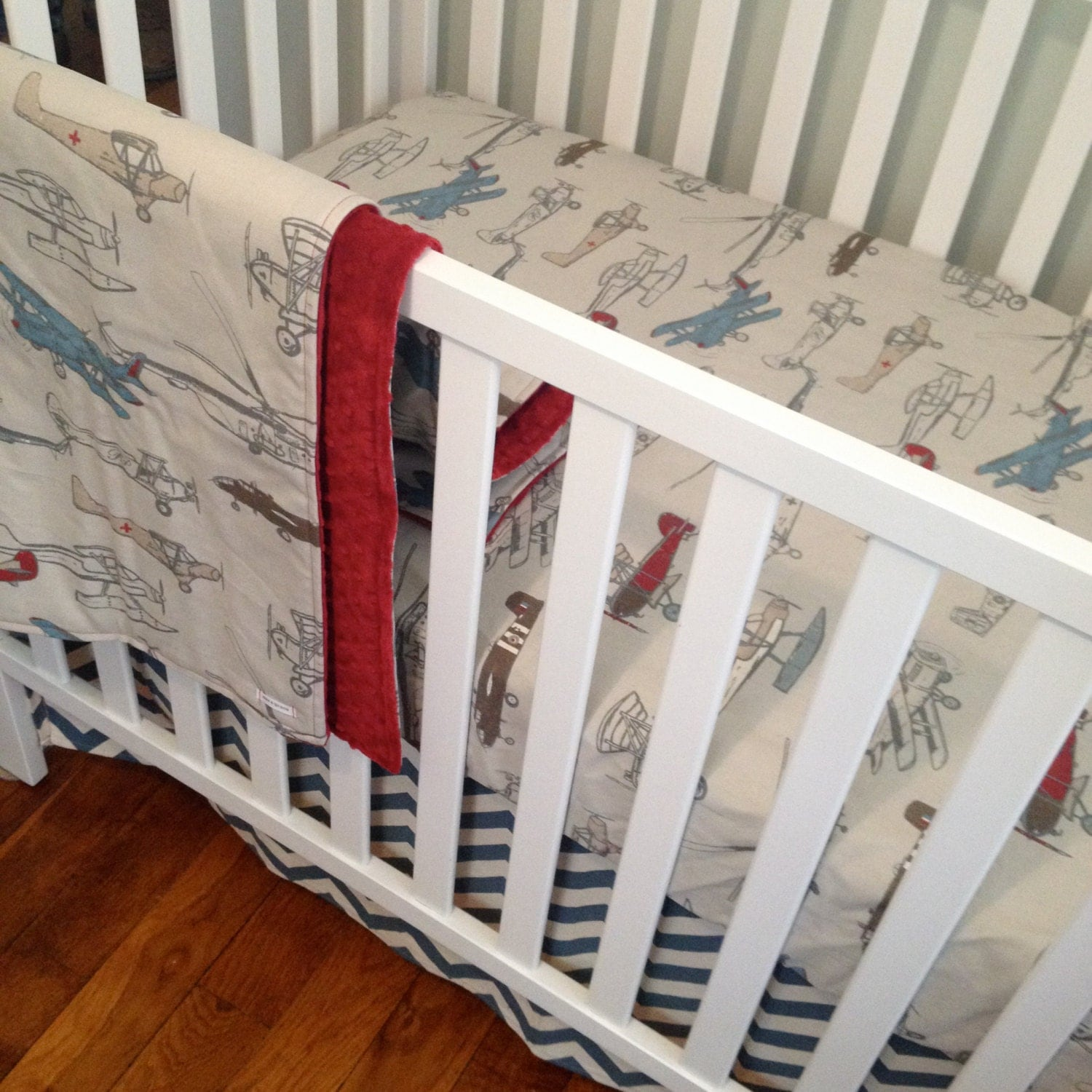 Airplane crib bedding bumperless baby bedding retro airplane - Airplane baby bedding sets ...