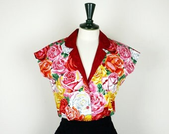 Rose red Blouse 40s style *Ready Made*