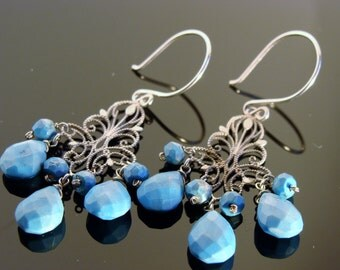 Natural Sleeping Beauty Turquoise Chandeliers Sterling Silver Earrings