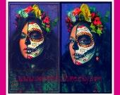 Dia de los Muertos HEADBAND -FLower Crown- Made of Silk Flowers n Glittered Skull-Day of the Dead -Halloween-Catrina -Sugar Skull - Customes