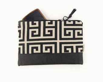 Color block bag - Leather pouch in geometric neutral beige and black - Recycled repurposed - Pencil case, cosmetics bag, handbag organizer
