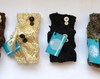 Hand Cable-Knit Boot Cuffs/Boot Toppers/boot socks with buttons