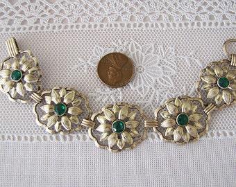 Vintage Sterling Silver Daisy Flower Motif Panel bracelet, Naturalist Gift