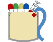 Real phlebotomist pocket - machine embroidery applique design In-the-Hoop project -  INSTANT DOWNLOAD