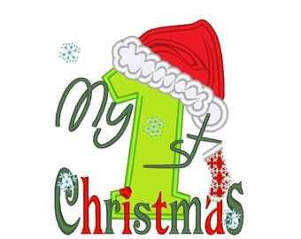 My 1st Christmas Applique designs Christmas Digital Machine Embroidery Applique - for 4x4 5x7 hoop INSTANT DOWNLOAD