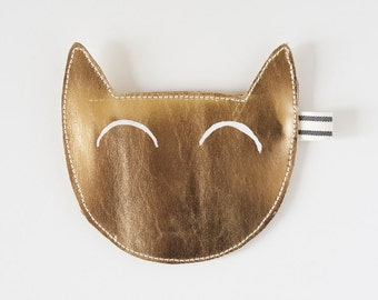 Kitty coin purse in gold leather