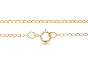 Finished Chains with spring ring clasp 14Kt Gold Filled 2.2x1.6mm 18 Inch Flat Cable Chain - 5pcs (2819) Bulk Quantity
