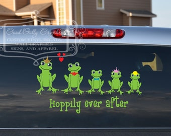 Frog family decal set - frog family- stick figure decal - family car decal