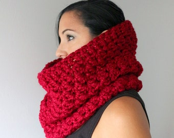 Sparkle Red Oversized Bella Cowl, Cranberry Red Crochet Cowl, Snood, Winter Accessories