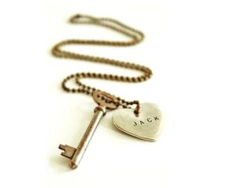 Personalized Key Necklace . Skeleton Key Necklace . silver heart necklace . girlfriend necklace . key to my heart vintage key necklace
