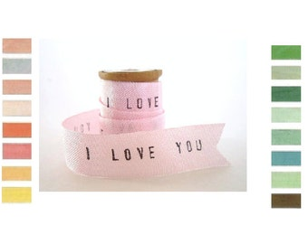 Personalized Ribbon 2 YARDS vintage rayon ribbon / I love you ribbon personalised ribbon