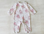 Baby girl Jumpsuit, Little girl floral outfit, All in One Baby Romper, One piece floral outfit for babies, Baby Girl Winter Sleepwear