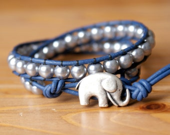 Beaded wrap bracelet, Genuine Leather, Silver Pearl Bohemian, lucky jewelry, navy blue, elephent, trendy, gift idea, hipster by OlenaDesigns