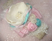 Vintage Tea Party in Ivory, Pink and Aqua Baby Flower Headband, Dupioni Silk Rosettes, Easter Headband, Headband, Feather Headband