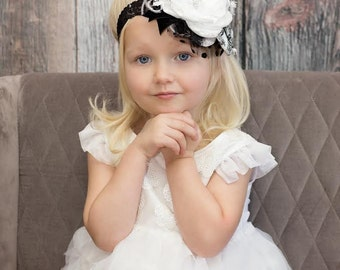 Baby Girl Flower Headband,  Headbands, Black White Flower Girl Headband, Baby Headband, Photo Prop, Infant Headband, Hair Bow, Band, Baby