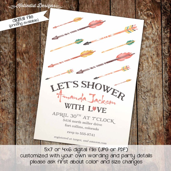 Tribal invitation arrows shower with love bridal shower baby shower watercolor sprinkle couples diaper (item 316) shabby chic invitations