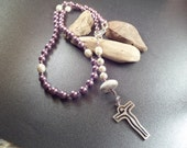 Pink Pearl Rosary with Scottish Iona Marble, Protection Stone, White Beach Pebble, Catholic Gift from Scotland
