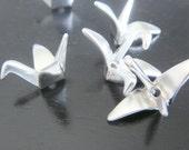 Matte Silver tarnish resistant Mini Chick Bird Bead Charms, Origami Bird connectors, pendants, 2 pc, B83237