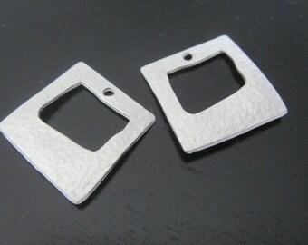 Square Connector, Matte Silver Tarnish resistant square Frame drop  pendants, connectors, findings, 2 pc, JS867