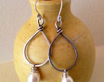 Tasteful Pearl & Sterling Earrings