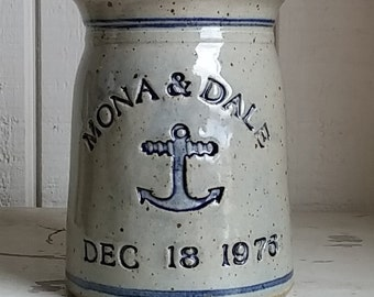 Nautical Anchor on Personalized Wedding Anniversary Stoneware Utensil Crock