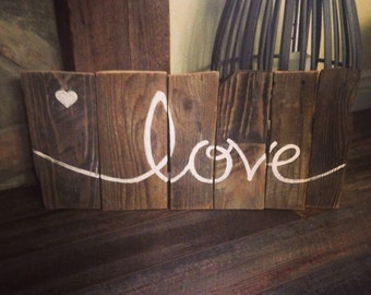 Love Sign from distressed reclaimed wood