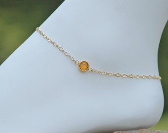 Gold Anklet, Crystal Anklet, Birthstone Gift, Beach Weddings, Bridal Anklet, 14k Gold Filled Anklet, Sterling Anklet, Dainty Anklet
