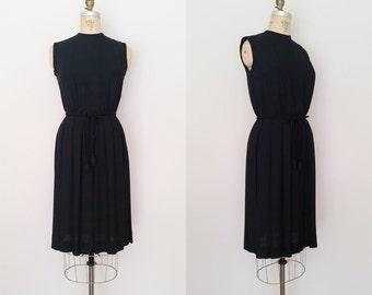 After Dark Dress / Vintage 1960s Black Dress / LBD / Pleated Skirt / XS