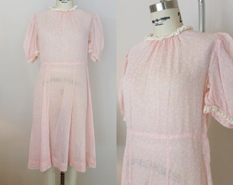 1930s Dress // SPRING INTO IT Dress // Vintage 30s Pink Dress // Small xs