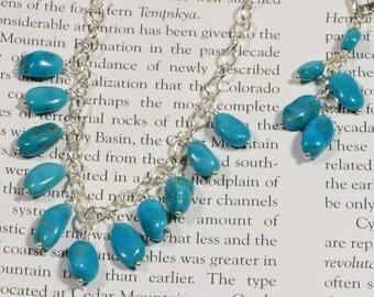 Sleeping Beauty Turquoise Necklace Set, Bib Necklace. Turquoise Sterling Silver Necklace