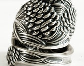 Ponderosa Pine Cone Ring, Sterling Silver Spoon Ring, Pine Cone Jewelry, Pinecone Ring, Pinecone Jewelry, Chunky Ring, Nature Inspired, 2840