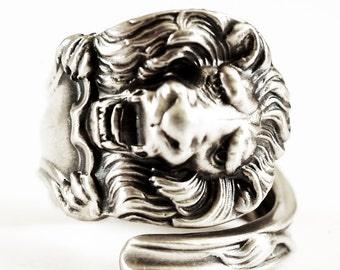 Victorian Lion Ring, Sterling Silver Spoon Ring, Silver Lion Ring, Narnia Jewelry, Gift for Him Gift for Her, Customizable Ring Size (490)