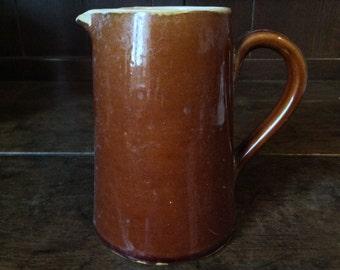 Vintage English Brown Glazed Denby Pitcher Jug Pot circa 1960's / English Shop