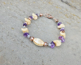 Amethyst cream copper bracelet, purple bracelets, february birthstone, birthday gift, gifts for women, gift for mom, gift for wife, love day