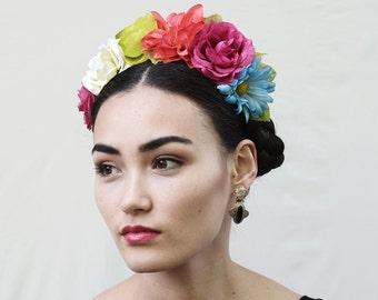 Rainbow Frida Kahlo Flower Crown, Colorful Flower Crown, Rainbow Headband, Floral Crown, Fiesta, Boho, Rainbow Accessories,  LGBT, Pride