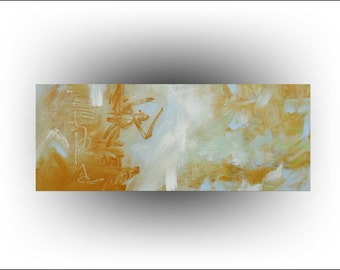 "ORIGINAL Painting Yellow and Blue Abstract Painting,""Ochre and Blue"", 30 x 12, by Skye Taylor...ready for hanging"