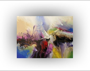 Skye Taylor Original Painting Surreal Living Room Wall Decor Modern Colorful Abstract Painting Fine Art, Heavens Wonder - 30 x 40