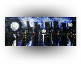 HUGE Unstretched Chicago City Abstract Original painting 36 x 73- Art by Skye Taylor