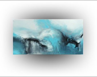 Turquoise Abstract Original PAINTING - 18 x 36 - Skye Taylor