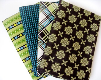 Fabric Bundle 4 Free Spirit Fat Quarters Lime Teal Brown - Quilting Cotton - Modern Quilting Kit - Quiltsy Destash Party - Bulk Fabric