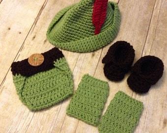 Baby Peter Pan prop, peter pan costume, baby prop, Crochet baby peter pan 4 peice set, newborn prop, up to 12 months, baby shower gift