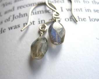 SALE Dainty Labradorite Earrings Sterling Silver / Unique Rustic Minimalist Everyday Jewelry, Moody Fog Rain Gray Blue Colors