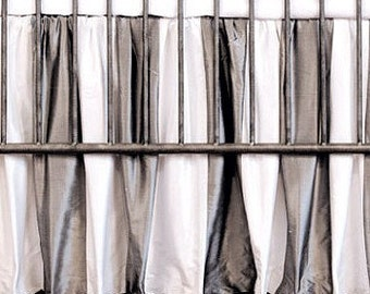 SALE-Crib Skirt IN Luxury Silk Gray/Platinum/Silver or Black & White/Ivory/Gender neutral/Bumperless or with Bumpers Crib Set