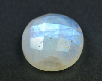 15mm round faceted moonstone rose cut 15 by 7mm 12.2ct